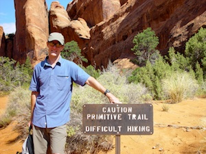 Ron at the trailhead of Devils Garden Primitive Loop